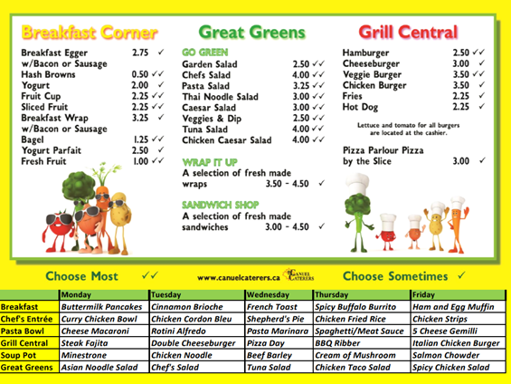 Private School menu selections - Catering Company in BC