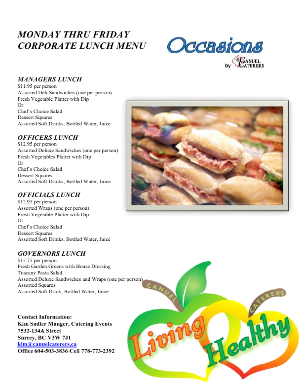 Monday Thru Friday Corporate Lunch Menus